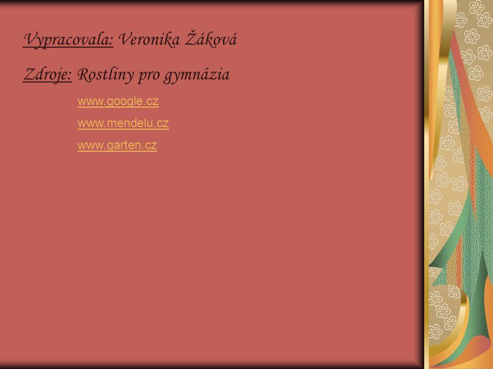 Vypracovala: Veronika Žáková Zdroje: Rostliny pro gymnázia www.google.cz www.mendelu.cz www.garten.cz