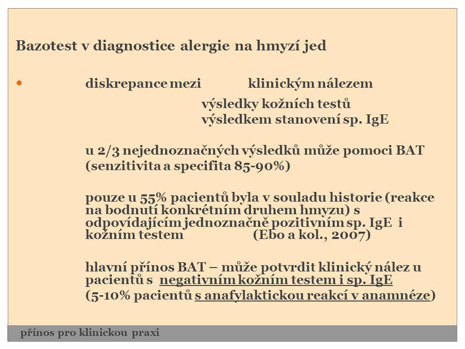 Bazotest v diagnostice alergie na hmyzí jed  diskrepance mezi klinickým nálezem výsledky kožních testů výsledkem stanovení sp. IgE u 2/3 nejednoznačn