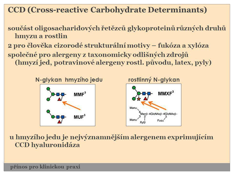 CCD (Cross-reactive Carbohydrate Determinants) součást oligosacharidových řetězců glykoproteinů různých druhů hmyzu a rostlin 2 pro člověka cizorodé s