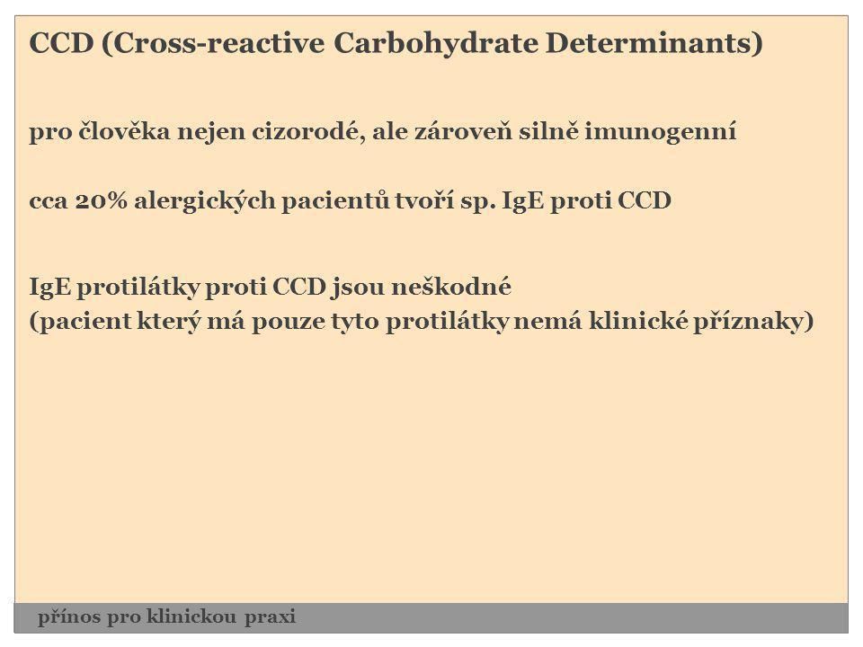CCD (Cross-reactive Carbohydrate Determinants) pro člověka nejen cizorodé, ale zároveň silně imunogenní cca 20% alergických pacientů tvoří sp. IgE pro