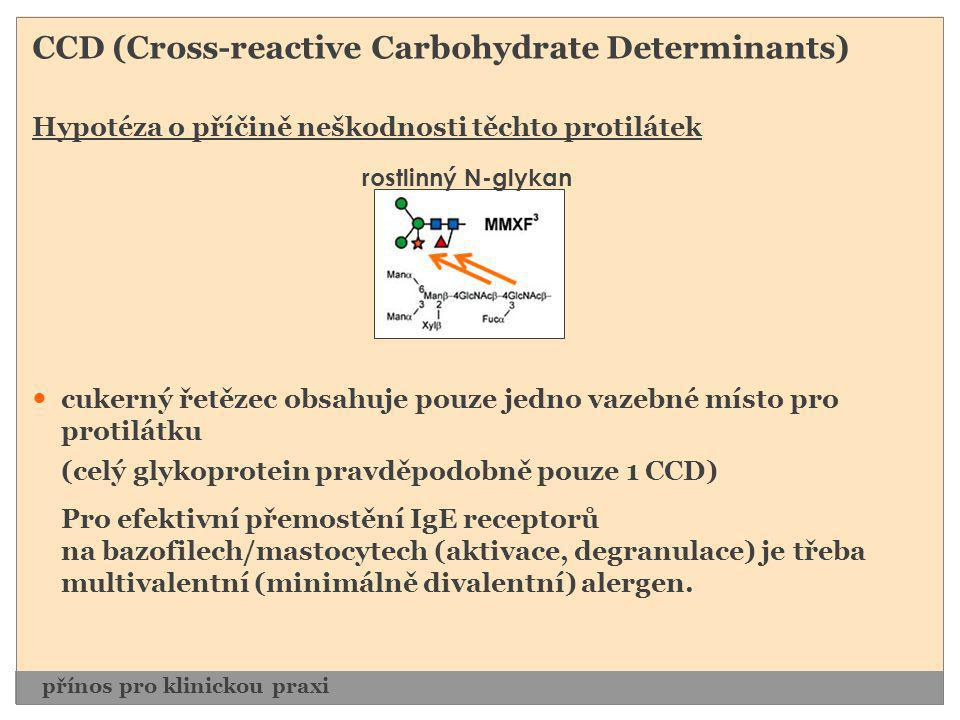 CCD (Cross-reactive Carbohydrate Determinants) Hypotéza o příčině neškodnosti těchto protilátek  cukerný řetězec obsahuje pouze jedno vazebné místo p