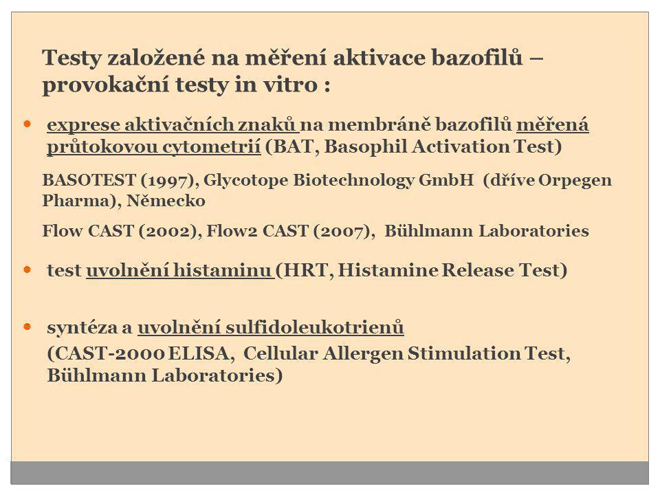 Testy založené na měření aktivace bazofilů – provokační testy in vitro :  exprese aktivačních znaků na membráně bazofilů měřená průtokovou cytometrií