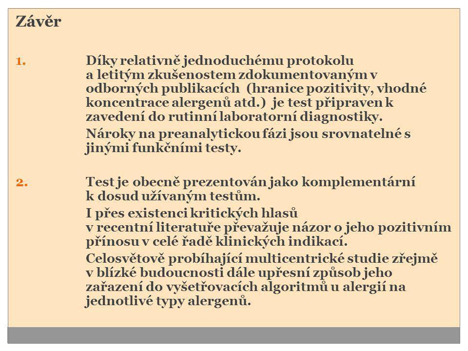 Závěr 1.Díky relativně jednoduchému protokolu a letitým zkušenostem zdokumentovaným v odborných publikacích (hranice pozitivity, vhodné koncentrace al