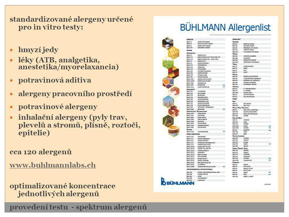 standardizované alergeny určené pro in vitro testy:  hmyzí jedy  léky (ATB, analgetika, anestetika/myorelaxancia)  potravinová aditiva  alergeny p