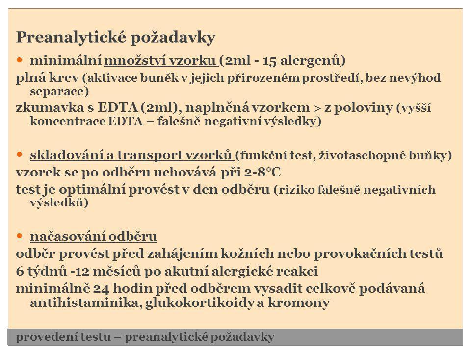 Preanalytické požadavky  minimální množství vzorku (2ml - 15 alergenů) plná krev (aktivace buněk v jejich přirozeném prostředí, bez nevýhod separace)