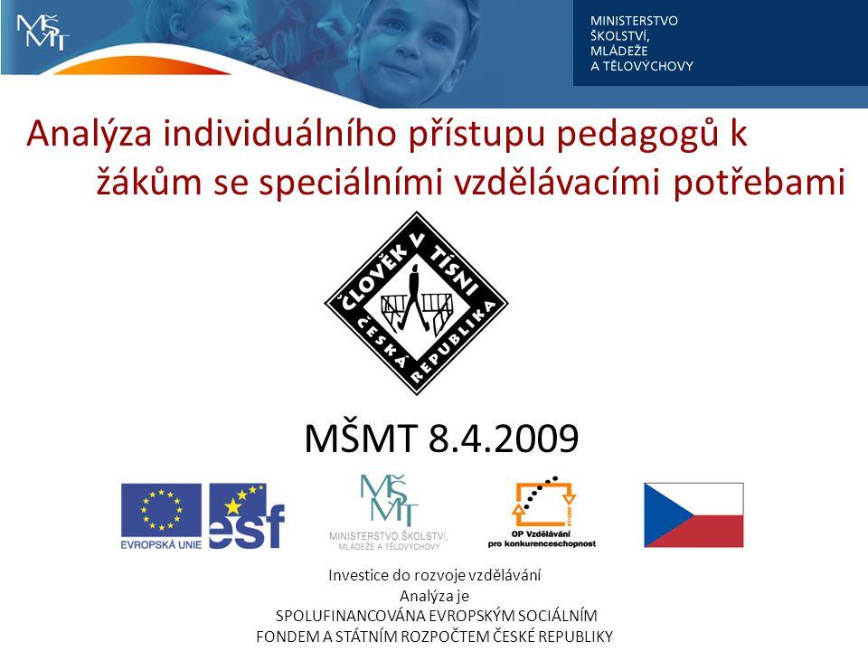Analýza individuálního přístupu pedagogů k žákům se speciálními vzdělávacími potřebami Investice do rozvoje vzdělávání Analýza je SPOLUFINANCOVÁNA EVROPSKÝM SOCIÁLNÍM FONDEM A STÁTNÍM ROZPOČTEM ČESKÉ REPUBLIKY MŠMT 8.4.2009