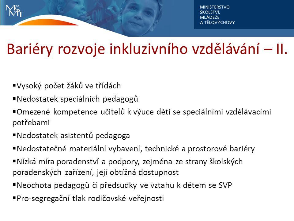 Bariéry rozvoje inkluzivního vzdělávání – II.