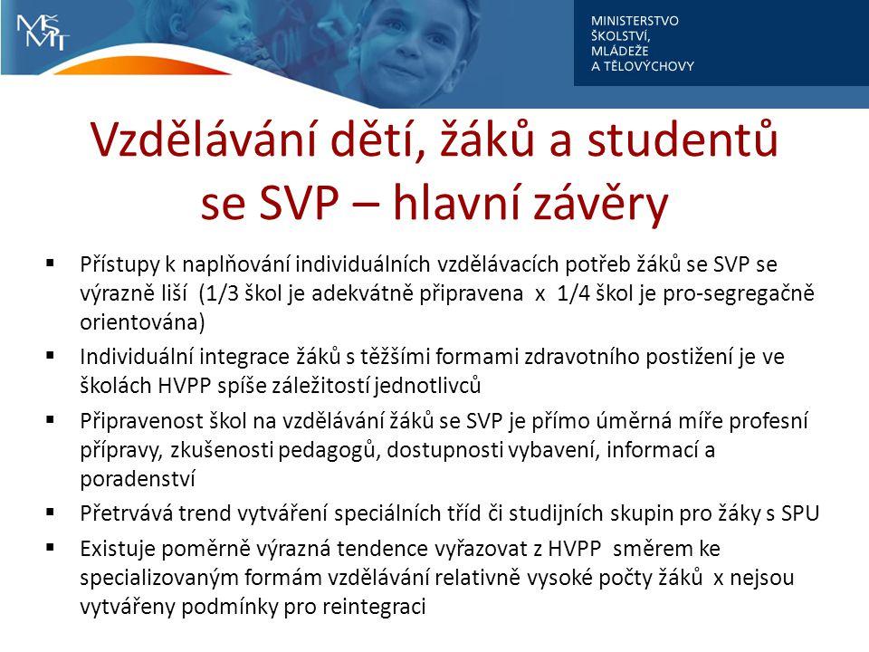 Vzdělávání dětí, žáků a studentů se SVP – hlavní závěry  Přístupy k naplňování individuálních vzdělávacích potřeb žáků se SVP se výrazně liší (1/3 šk