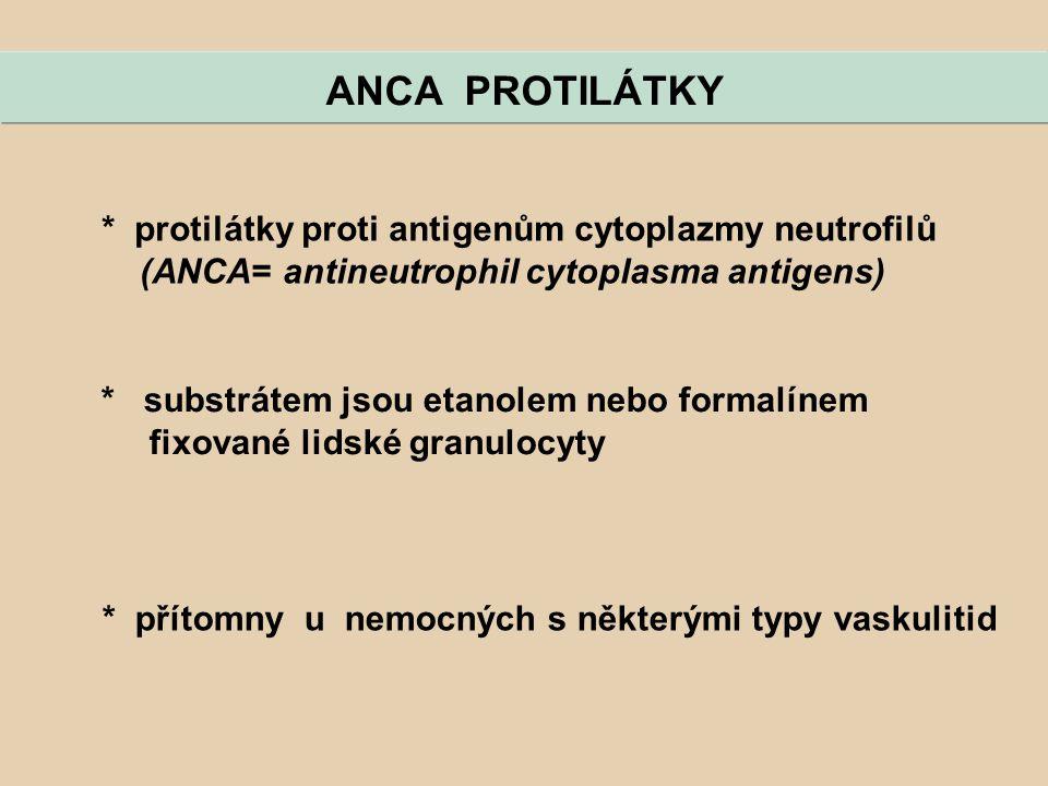 * protilátky proti antigenům cytoplazmy neutrofilů (ANCA= antineutrophil cytoplasma antigens) ANCA PROTILÁTKY * substrátem jsou etanolem nebo formalín