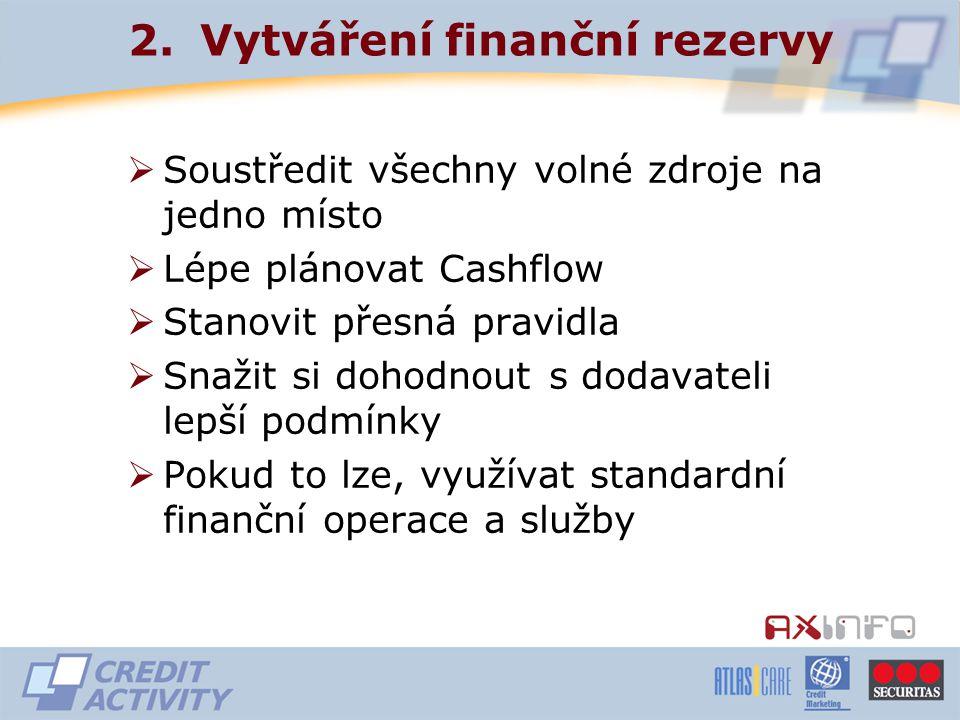 2.Vytváření finanční rezervy  Soustředit všechny volné zdroje na jedno místo  Lépe plánovat Cashflow  Stanovit přesná pravidla  Snažit si dohodnout s dodavateli lepší podmínky  Pokud to lze, využívat standardní finanční operace a služby
