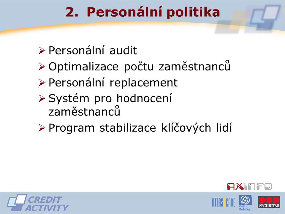 2.Personální politika  Personální audit  Optimalizace počtu zaměstnanců  Personální replacement  Systém pro hodnocení zaměstnanců  Program stabilizace klíčových lidí