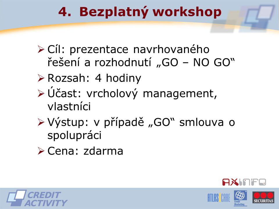"""4.Bezplatný workshop  Cíl: prezentace navrhovaného řešení a rozhodnutí """"GO – NO GO  Rozsah: 4 hodiny  Účast: vrcholový management, vlastníci  Výstup: v případě """"GO smlouva o spolupráci  Cena: zdarma"""