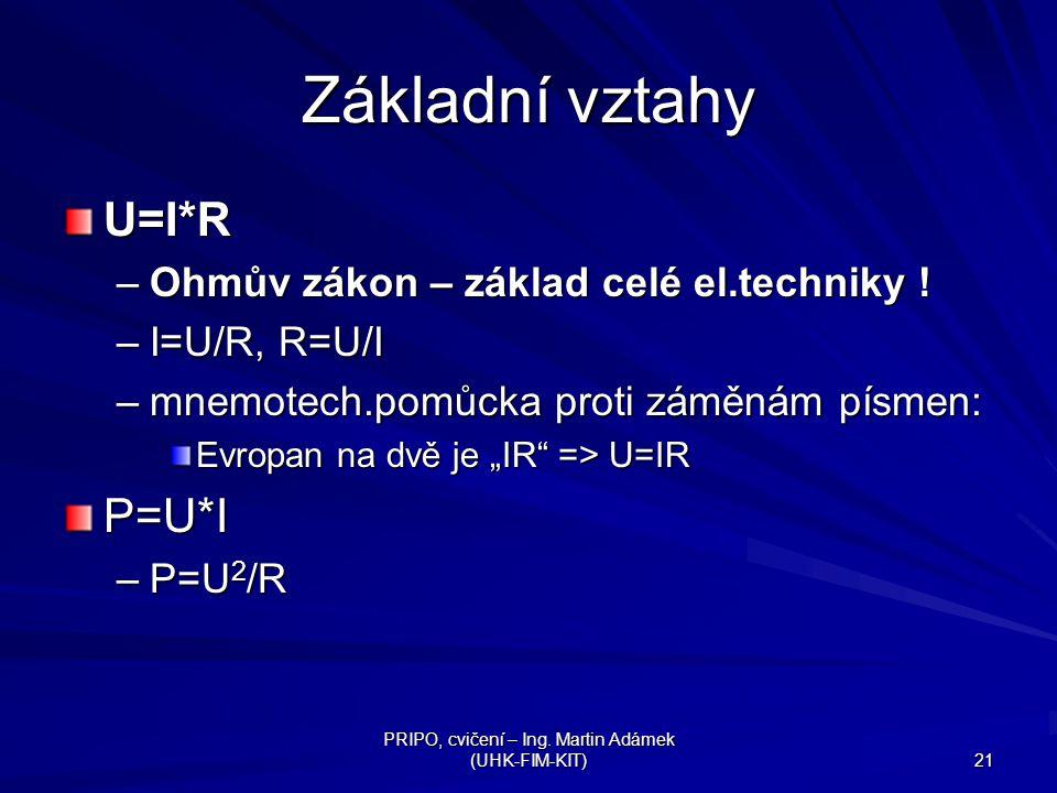 PRIPO, cvičení – Ing.Martin Adámek (UHK-FIM-KIT) 22 Příklad – Ohmův zákon U cc =24V R=6  I=.