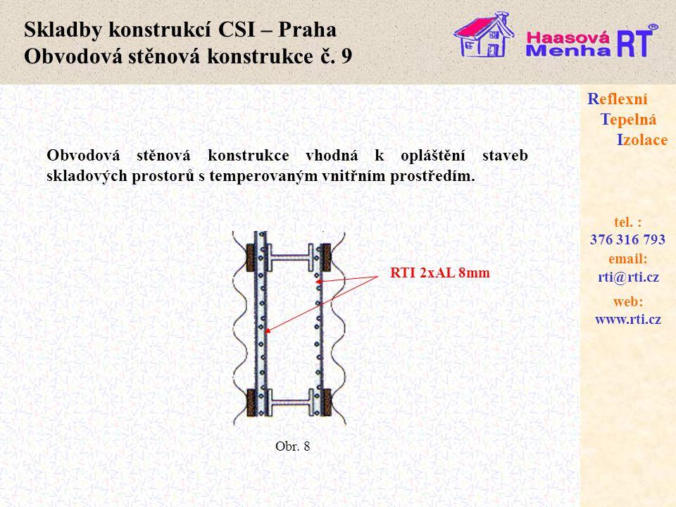 web: www.rti.cz Reflexní Tepelná Izolace email: rti@rti.cz tel. : 376 316 793 Skladby konstrukcí CSI – Praha Obvodová stěnová konstrukce č. 9 Obvodová