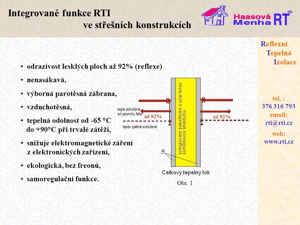 web: www.rti.cz Reflexní Tepelná Izolace email: rti@rti.cz tel. : 376 316 793 Integrované funkce RTI ve střešních konstrukcích • odrazivost lesklých p