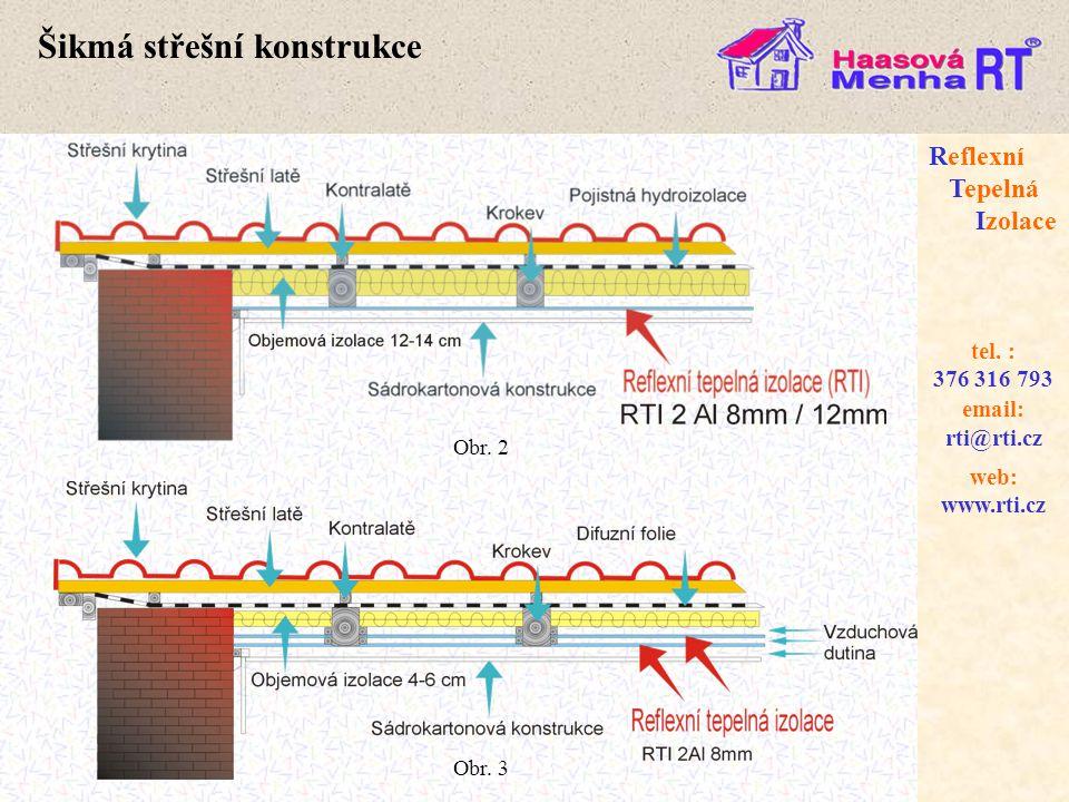 web: www.rti.cz Reflexní Tepelná Izolace email: rti@rti.cz tel. : 376 316 793 Šikmá střešní konstrukce Obr. 2 Obr. 3