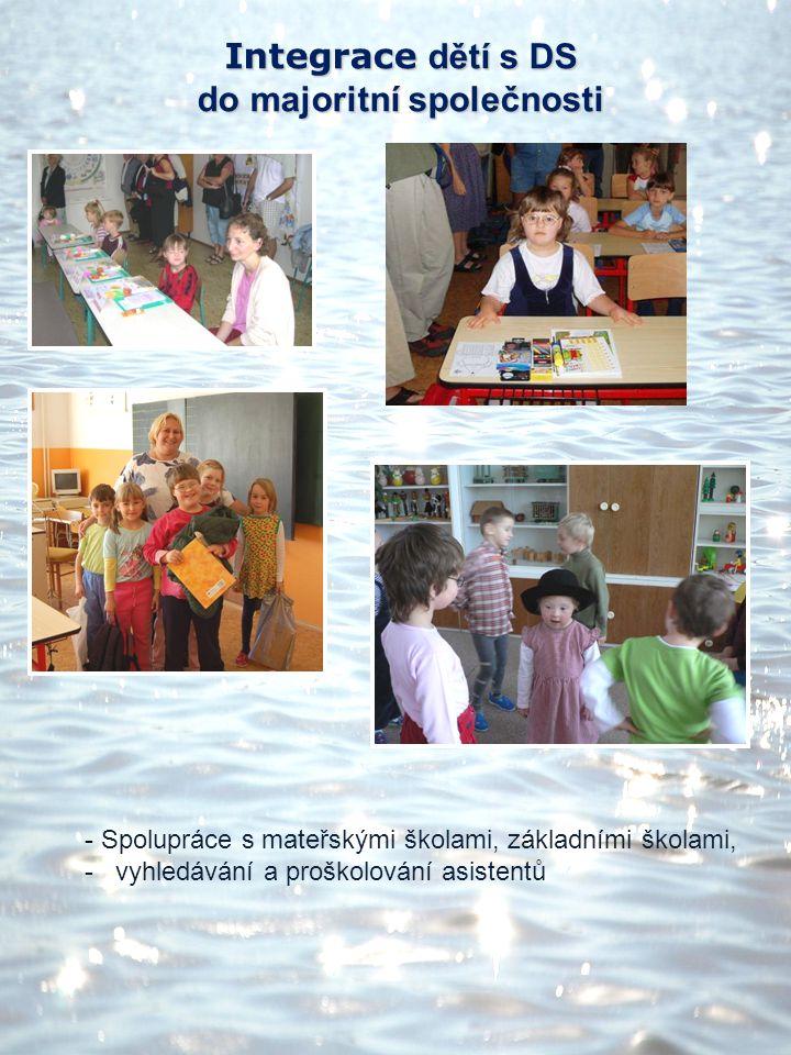Integrace dětí s DS do majoritní společnosti - Spolupráce s mateřskými školami, základními školami, - vyhledávání a proškolování asistentů