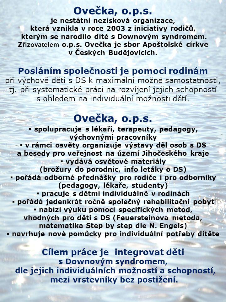 Ovečka, o.p.s. je nestátní nezisková organizace, která vznikla v roce 2003 z iniciativy rodičů, kterým se narodilo dítě s Downovým syndromem. Z řizova