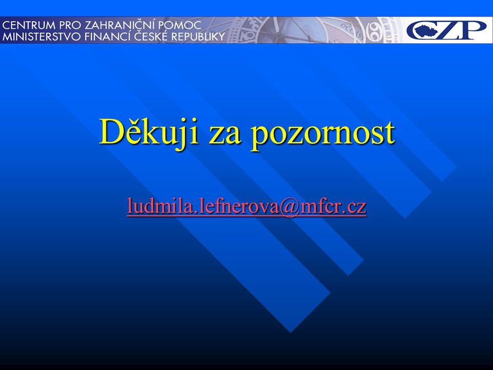 Děkuji za pozornost ludmila.lefnerova@mfcr.cz
