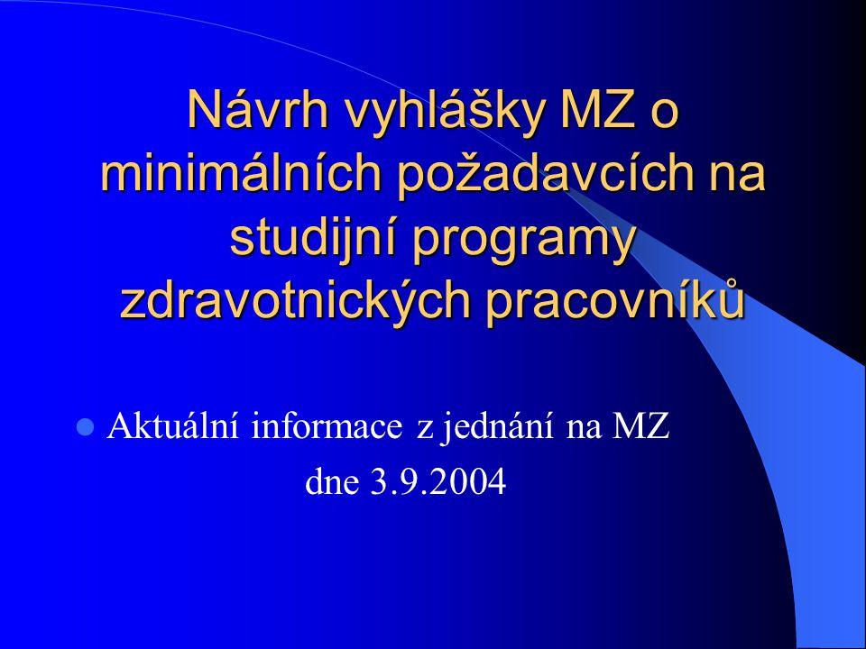 Návrh vyhlášky MZ o minimálních požadavcích na studijní programy zdravotnických pracovníků  Aktuální informace z jednání na MZ dne 3.9.2004