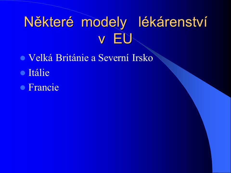 Některé modely lékárenství v EU  Velká Británie a Severní Irsko  Itálie  Francie