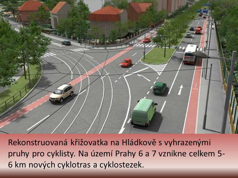 Okraj Letenské pláně u stadionu Sparty. V pozadí budovy ministerstva vnitra. Červený pruh vedle chodníku je nová cyklostezka.