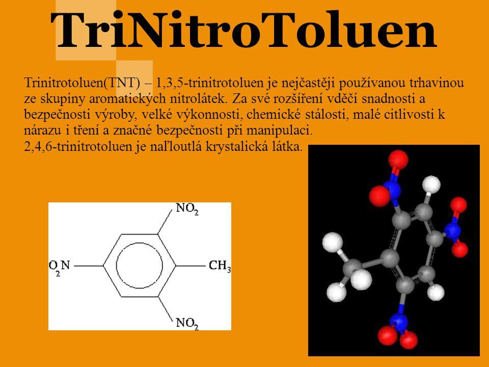 TriNitroToluen Trinitrotoluen(TNT) – 1,3,5-trinitrotoluen je nejčastěji používanou trhavinou ze skupiny aromatických nitrolátek. Za své rozšíření vděč