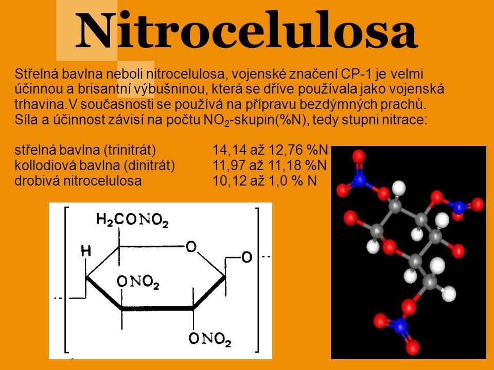 Nitrocelulosa Střelná bavlna neboli nitrocelulosa, vojenské značení CP-1 je velmi účinnou a brisantní výbušninou, která se dříve používala jako vojens