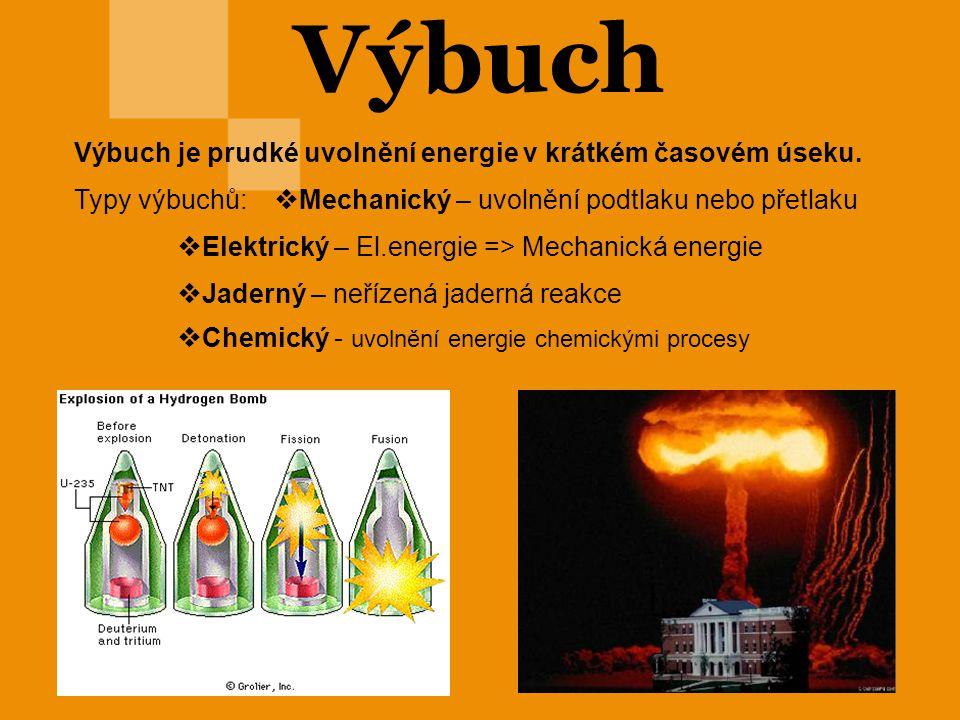Výbuch Výbuch je prudké uvolnění energie v krátkém časovém úseku. Typy výbuchů:  Mechanický – uvolnění podtlaku nebo přetlaku  Elektrický – El.energ