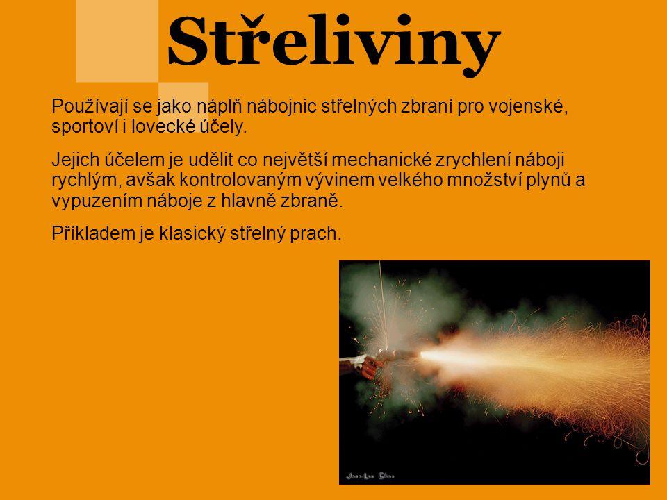 Černý prach Střelný prach je nejslabší výbušninou a má velmi pomalý trhací účinek(explosivní hoření), proto se řadí mezi střeliviny.