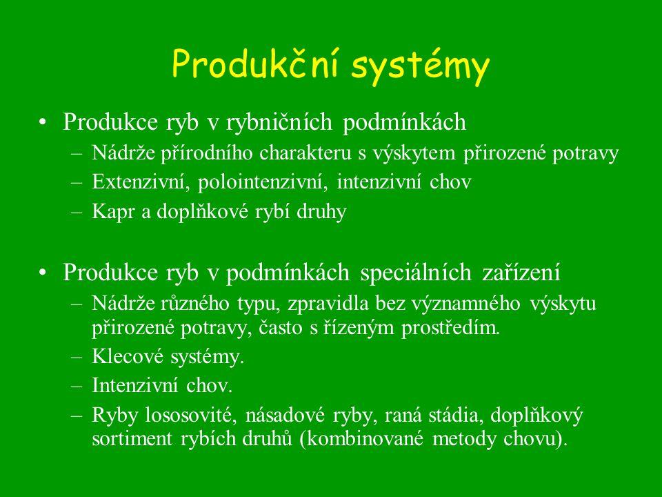 Produkční systémy •Produkce ryb v rybničních podmínkách –Nádrže přírodního charakteru s výskytem přirozené potravy –Extenzivní, polointenzivní, intenz