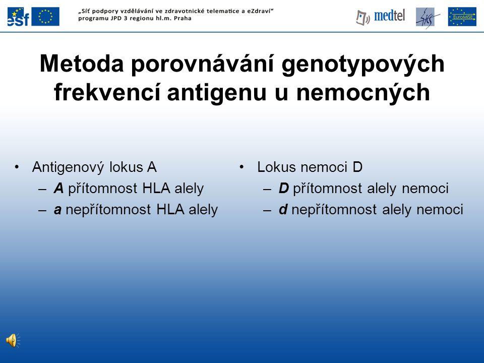 •Antigenový lokus A –A přítomnost HLA alely –a nepřítomnost HLA alely •Lokus nemoci D –D přítomnost alely nemoci –d nepřítomnost alely nemoci Metoda p