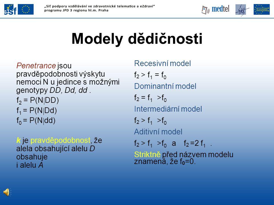 Penetrance jsou pravděpodobnosti výskytu nemoci N u jedince s možnými genotypy DD, Dd, dd. f 2 = P(N  DD) f 1 = P(N  Dd) f 0 = P(N  dd) k je pravdě
