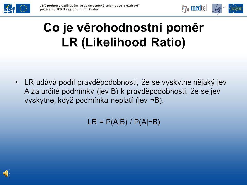 •LR udává podíl pravděpodobnosti, že se vyskytne nějaký jev A za určité podmínky (jev B) k pravděpodobnosti, že se jev vyskytne, když podmínka neplatí
