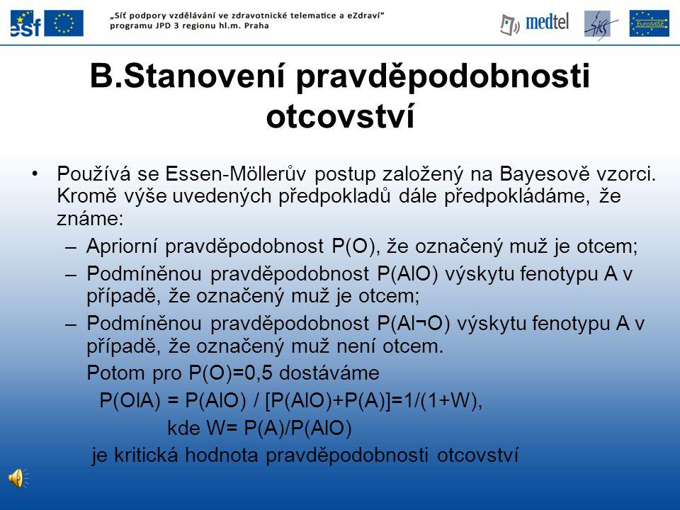•Používá se Essen-Möllerův postup založený na Bayesově vzorci. Kromě výše uvedených předpokladů dále předpokládáme, že známe: –Apriorní pravděpodobnos