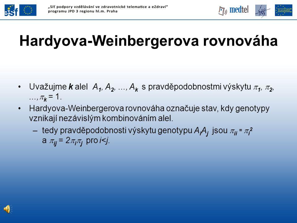 Hardyova-Weinbergerova rovnováha •Uvažujme k alel A 1, A 2,..., A k s pravděpodobnostmi výskytu  1,  2,...,  k = 1. •Hardyova-Weinbergerova rovnová
