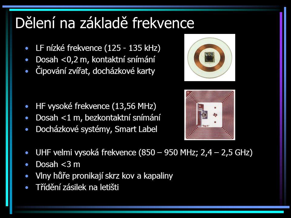 Dělení na základě frekvence •LF nízké frekvence (125 - 135 kHz) •Dosah <0,2 m, kontaktní snímání •Čipování zvířat, docházkové karty •HF vysoké frekven