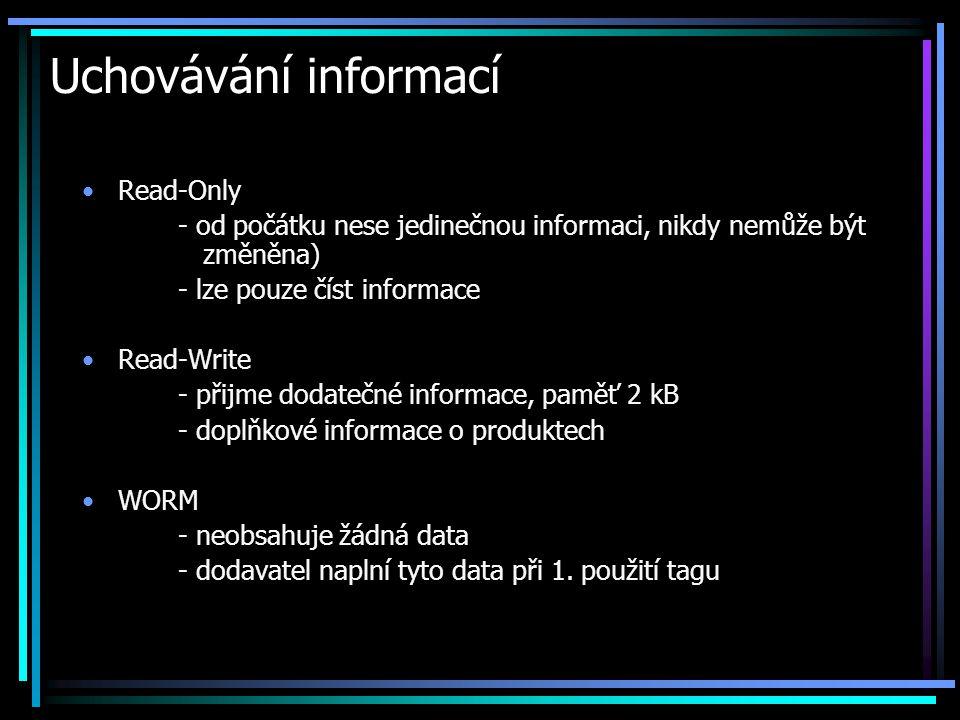 Uchovávání informací •Read-Only - od počátku nese jedinečnou informaci, nikdy nemůže být změněna) - lze pouze číst informace •Read-Write - přijme doda