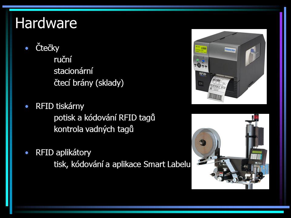 Hardware •Čtečky ruční stacionární čtecí brány (sklady) •RFID tiskárny potisk a kódování RFID tagů kontrola vadných tagů •RFID aplikátory tisk, kódová