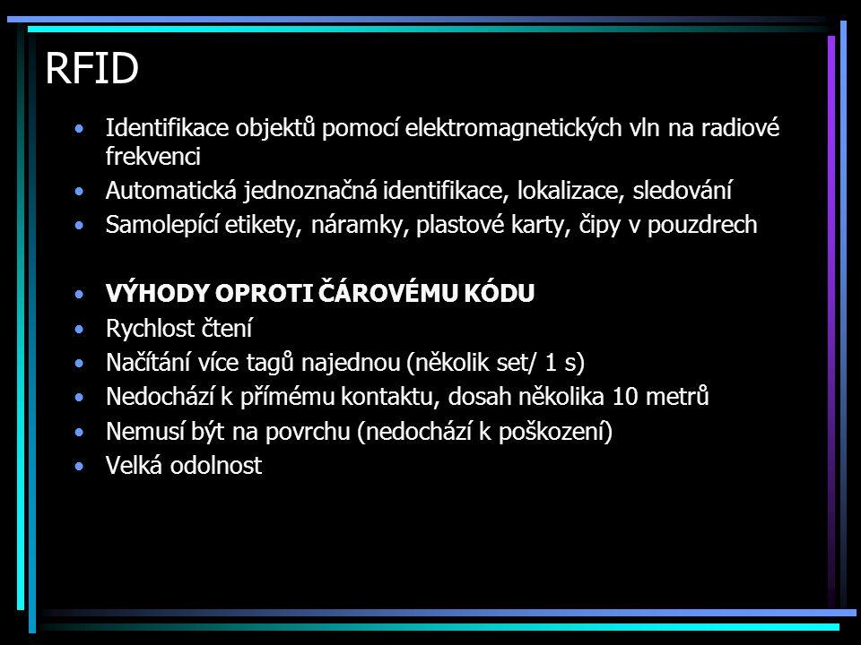 RFID •Identifikace objektů pomocí elektromagnetických vln na radiové frekvenci •Automatická jednoznačná identifikace, lokalizace, sledování •Samolepíc