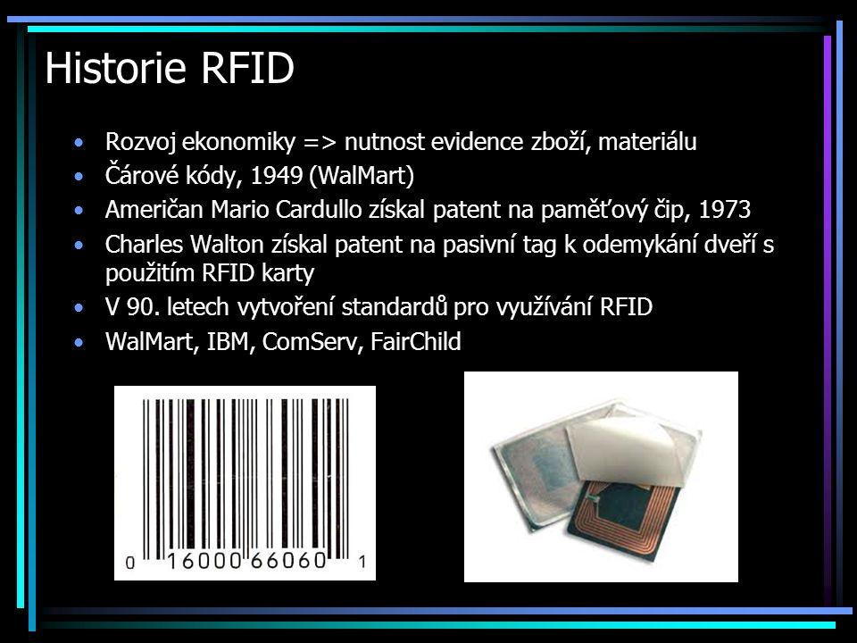 Historie RFID •Rozvoj ekonomiky => nutnost evidence zboží, materiálu •Čárové kódy, 1949 (WalMart) •Američan Mario Cardullo získal patent na paměťový č