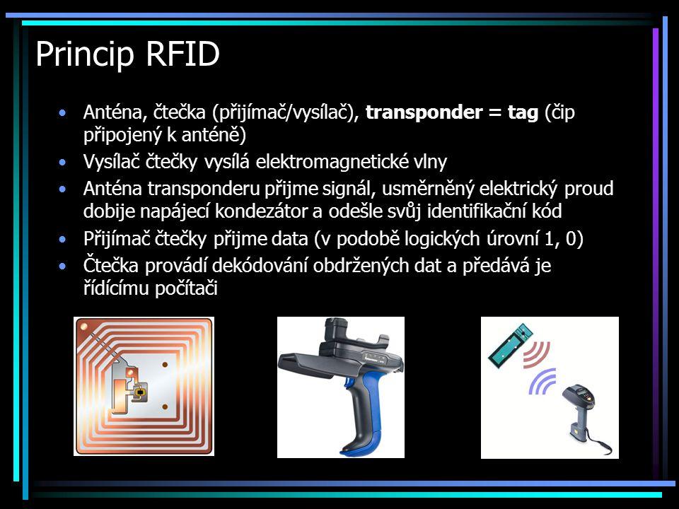 Princip RFID •Anténa, čtečka (přijímač/vysílač), transponder = tag (čip připojený k anténě) •Vysílač čtečky vysílá elektromagnetické vlny •Anténa tran