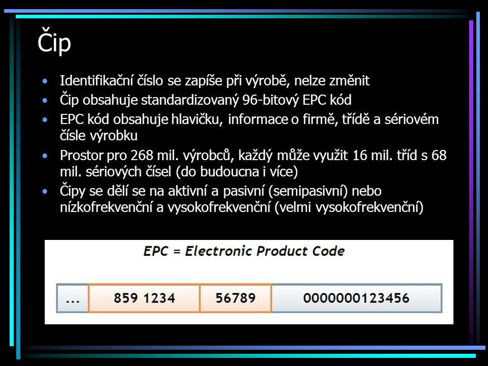 Čip •Identifikační číslo se zapíše při výrobě, nelze změnit •Čip obsahuje standardizovaný 96-bitový EPC kód •EPC kód obsahuje hlavičku, informace o fi