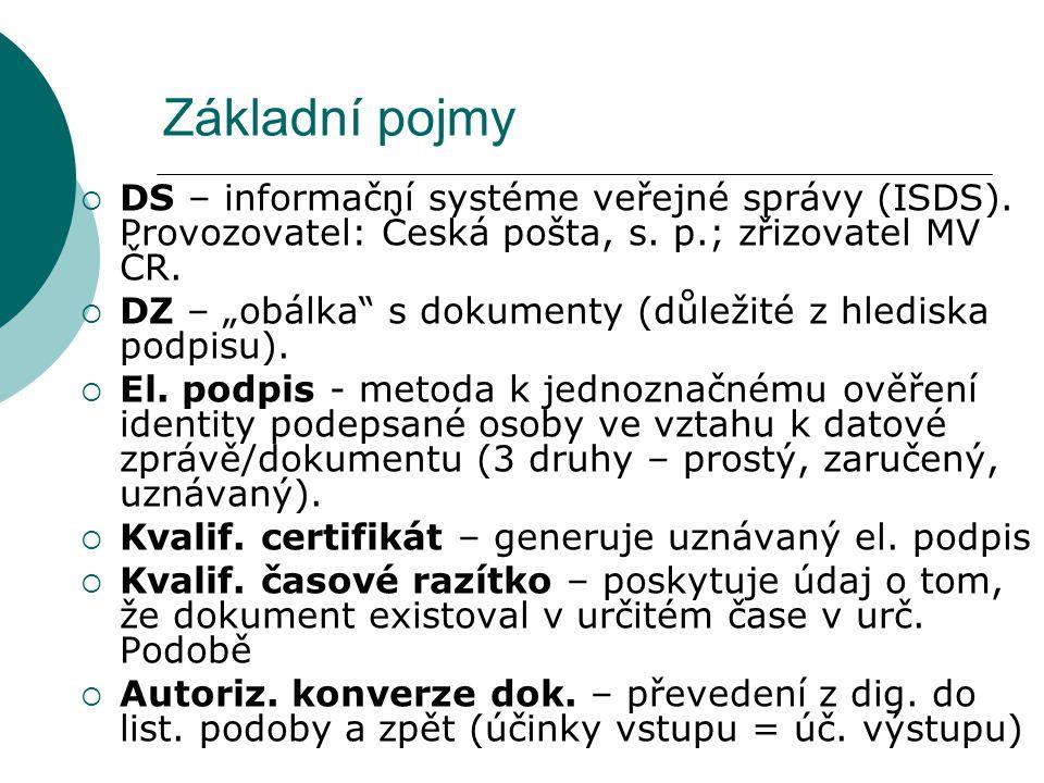 """Základní pojmy  DS – informační systéme veřejné správy (ISDS). Provozovatel: Česká pošta, s. p.; zřizovatel MV ČR.  DZ – """"obálka"""" s dokumenty (důlež"""