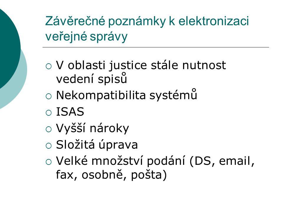 Závěrečné poznámky k elektronizaci veřejné správy  V oblasti justice stále nutnost vedení spisů  Nekompatibilita systémů  ISAS  Vyšší nároky  Slo