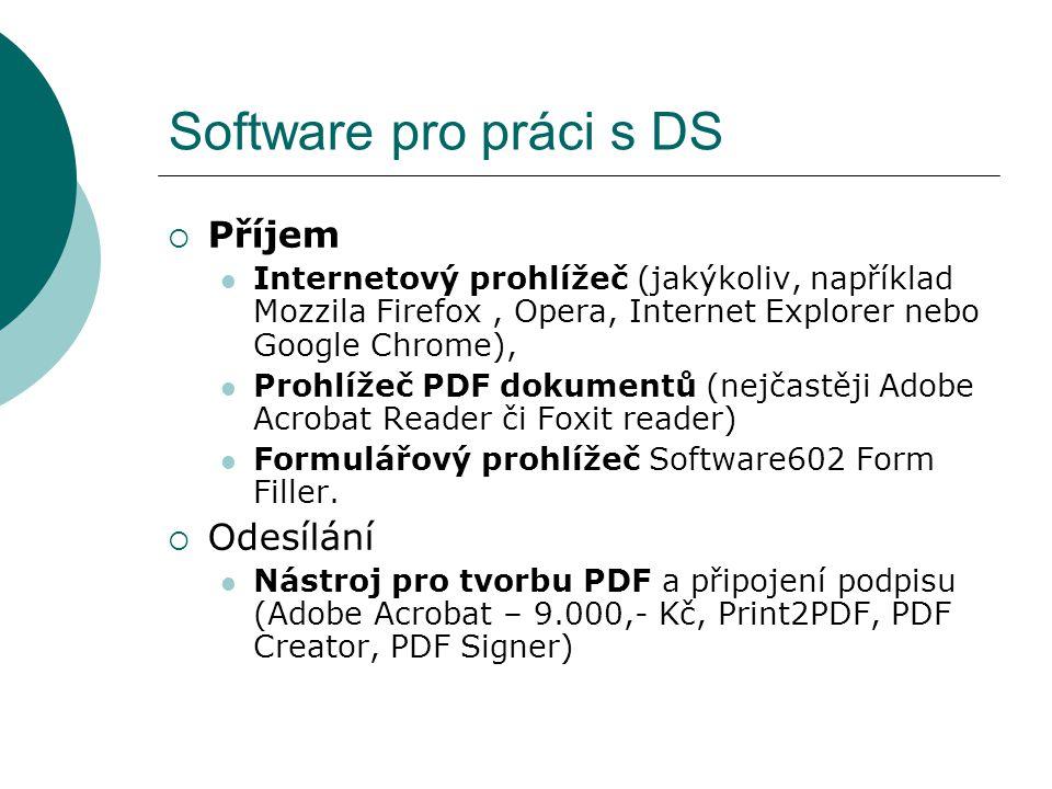 Software pro práci s DS  Příjem  Internetový prohlížeč (jakýkoliv, například Mozzila Firefox, Opera, Internet Explorer nebo Google Chrome),  Prohlí
