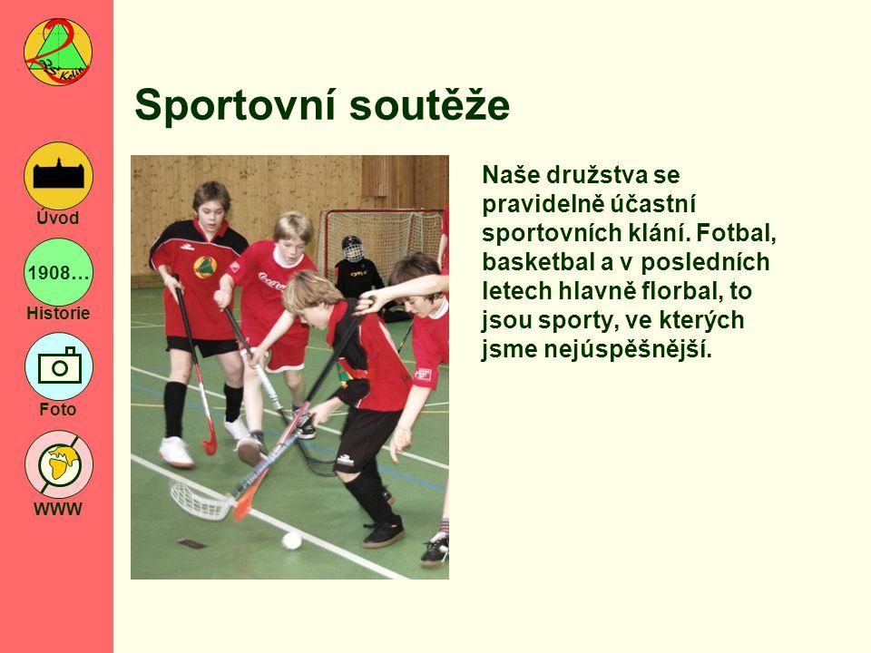 1908… Historie Foto WWW Úvod Sportovní soutěže Naše družstva se pravidelně účastní sportovních klání. Fotbal, basketbal a v posledních letech hlavně f