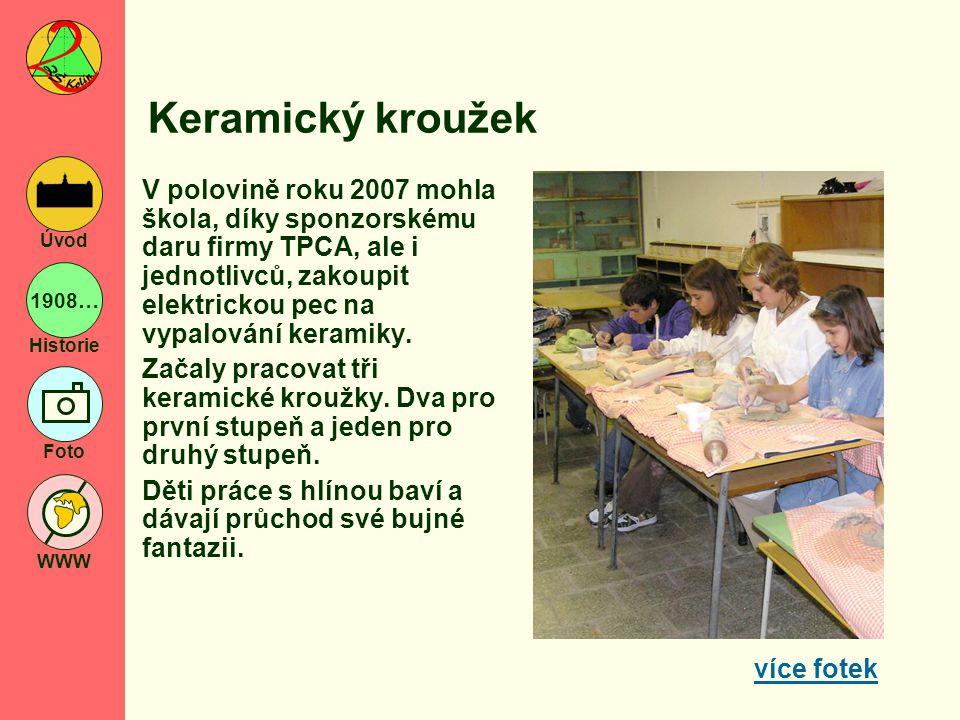 1908… Historie Foto WWW Úvod Keramický kroužek V polovině roku 2007 mohla škola, díky sponzorskému daru firmy TPCA, ale i jednotlivců, zakoupit elektr