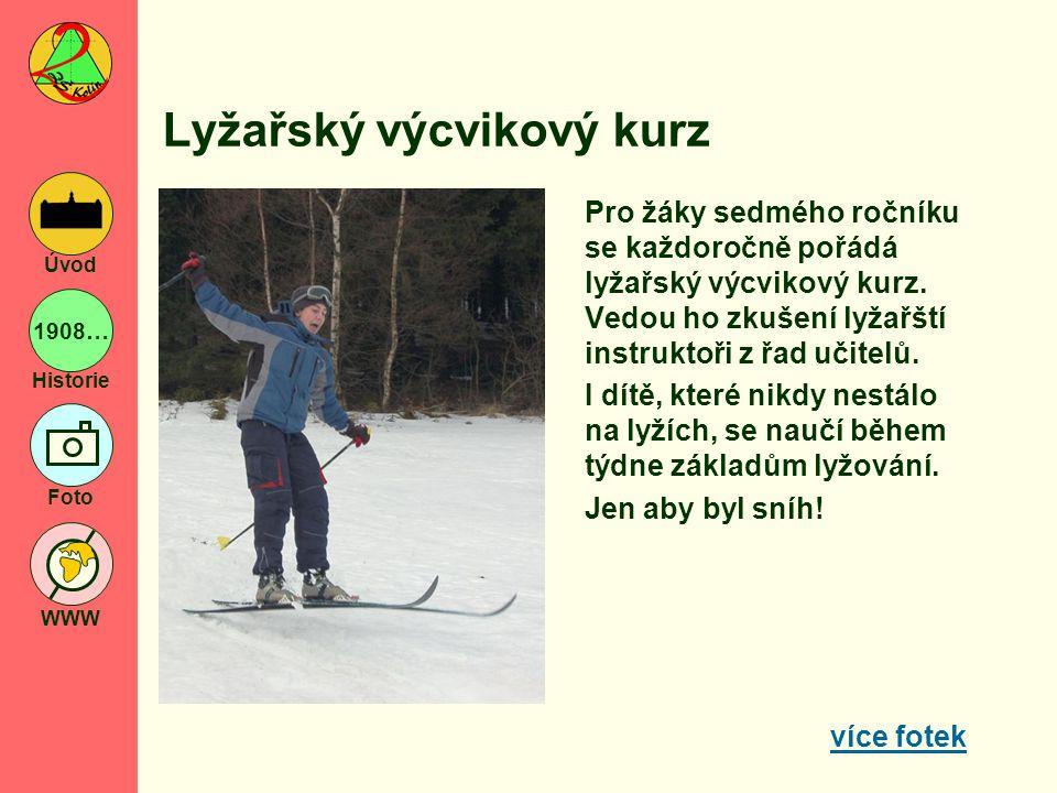 1908… Historie Foto WWW Úvod Lyžařský výcvikový kurz Pro žáky sedmého ročníku se každoročně pořádá lyžařský výcvikový kurz. Vedou ho zkušení lyžařští