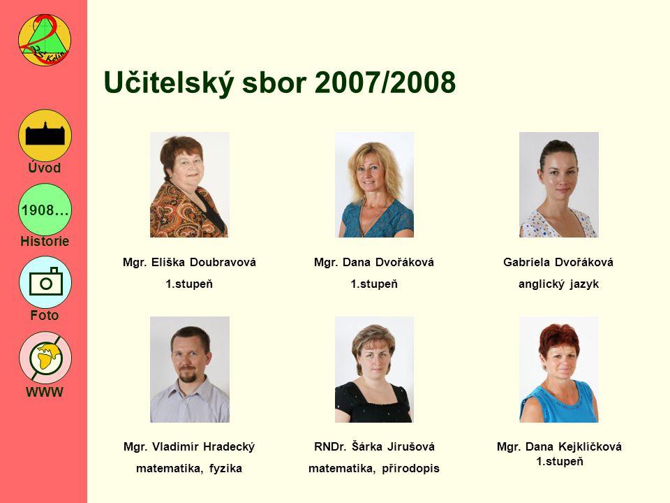 1908… Historie Foto WWW Úvod Učitelský sbor 2007/2008 Mgr.